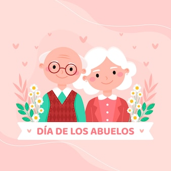 Płaska ilustracja dia de los abuelos
