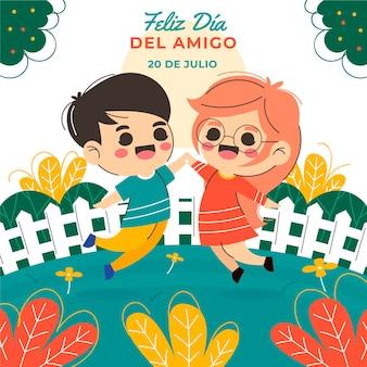 Płaska ilustracja dia del amigo