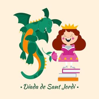 Płaska ilustracja diada de sant jordi ze smokiem i księżniczką