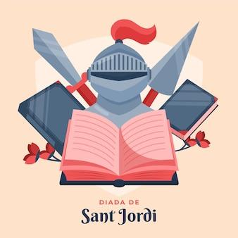 Płaska ilustracja diada de sant jordi ze zbroją rycerza i książką