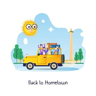 Płaska ilustracja dla podróżnika, powrót do rodzinnego miasta - mudik w ciągu dnia