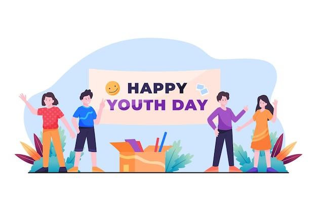 Płaska ilustracja dnia młodzieży obchodzony przez różnych ludzi