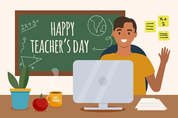 Płaska ilustracja dnia nauczyciela
