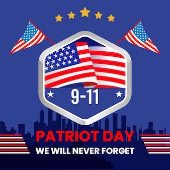 Płaska ilustracja dnia patrioty 9.11