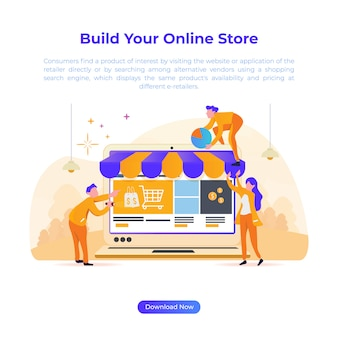 Płaska ilustracja do budowy sklepu internetowego dla e-commerce