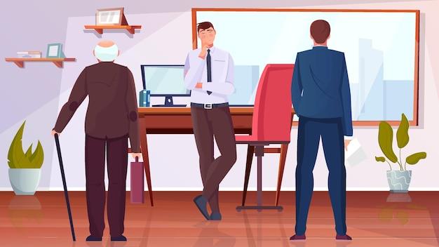 Płaska ilustracja dyskryminacji wiekowej ze starszym i młodym mężczyzną w biurze