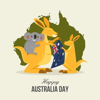 Płaska ilustracja dzień australii z kangurem