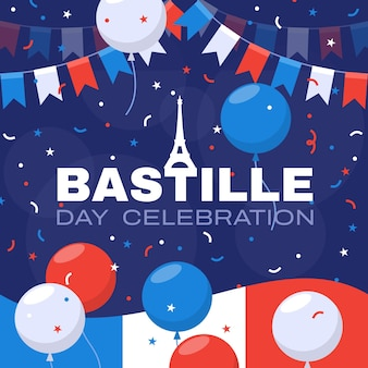 Płaska ilustracja dzień bastylii