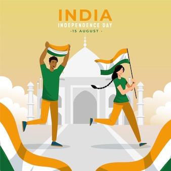Płaska Ilustracja Dzień Niepodległości Indii Darmowych Wektorów