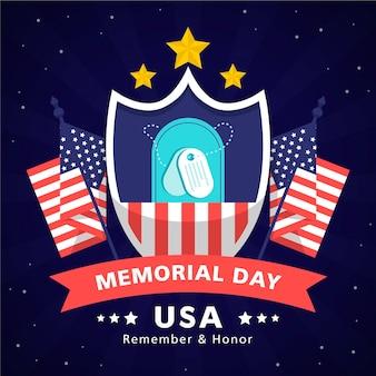 Płaska ilustracja dzień pamięci usa