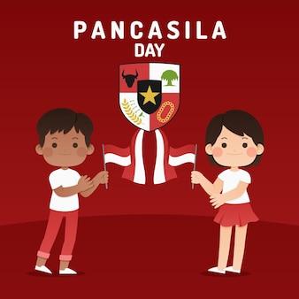 Płaska ilustracja dzień pancasila
