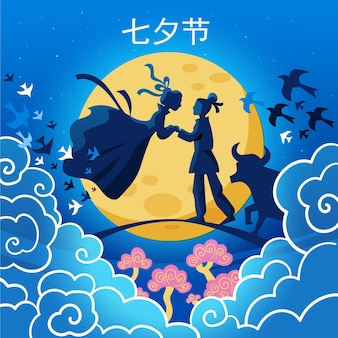 Płaska ilustracja dzień qi xi