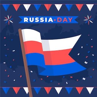 Płaska ilustracja dzień rosji