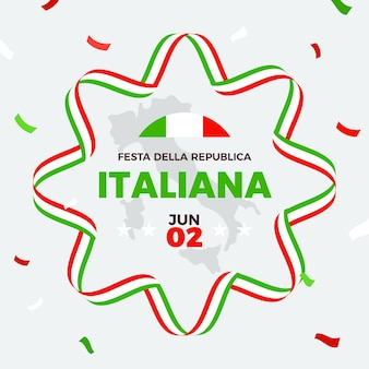 Płaska ilustracja festa della repubblica