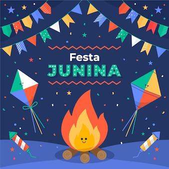 Płaska ilustracja festa junina