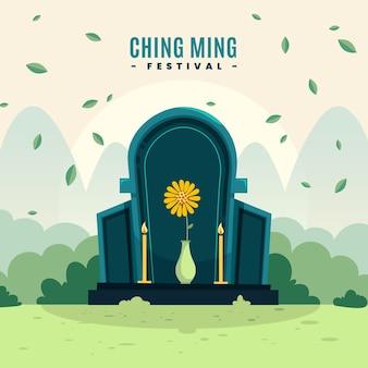 Płaska ilustracja festiwalu ching ming