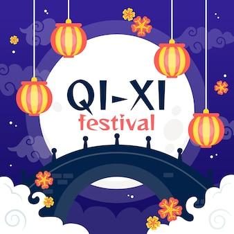 Płaska ilustracja festiwalu qi xi day