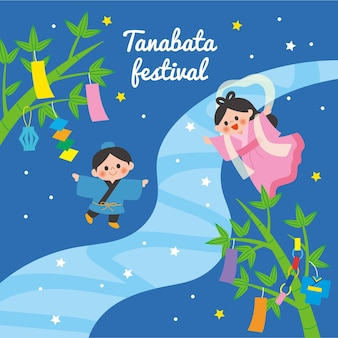 Płaska ilustracja festiwalu tanabata