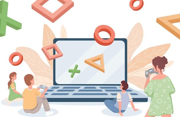 Płaska ilustracja gier online. granie w gry online na komputerze lub konsoli.