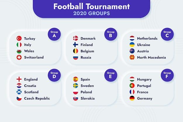 Płaska ilustracja grup turniejów piłkarskich