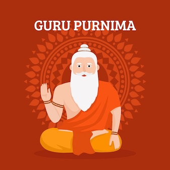 Płaska ilustracja guru purnima