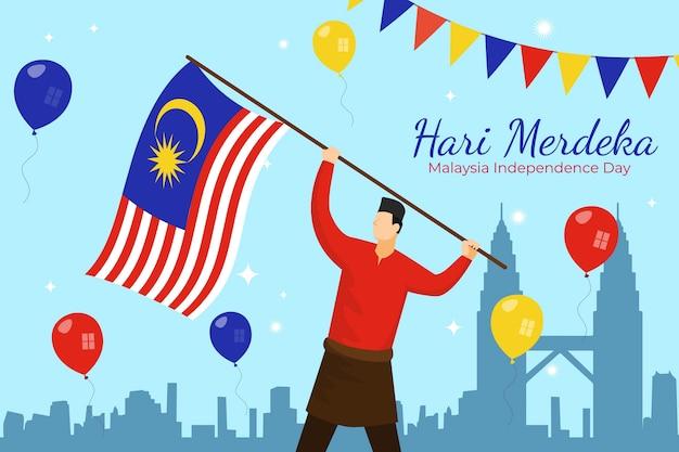 Płaska ilustracja hari merdeka
