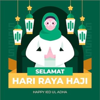 Płaska ilustracja hari raya haji
