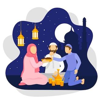 Płaska ilustracja iftar