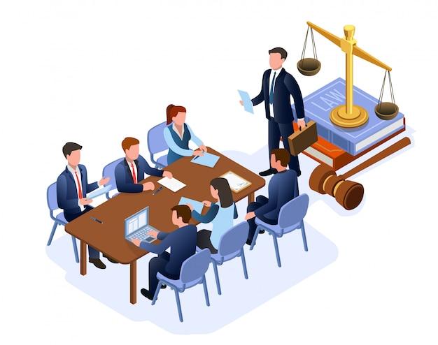 Płaska ilustracja ilustracji wektorowych doradców prawnych.
