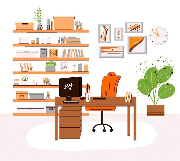 Płaska ilustracja interrior miejsca pracy domowego biura - biurko z monitorem, komputer, półki z książkami i akcesoriami, rośliny. przytulne miejsce do pracy w domu, strefa domowego biura