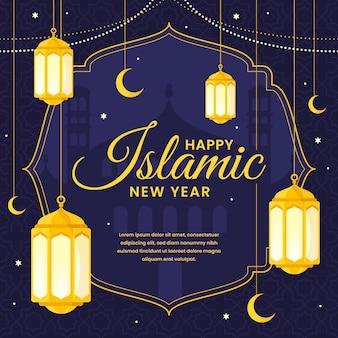 Płaska ilustracja islamskiego nowego roku