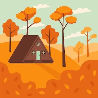 Płaska ilustracja jesiennych domów w lesie