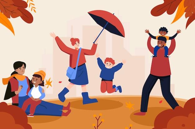 Płaska ilustracja jesiennych dzieci bawiących się na zewnątrz