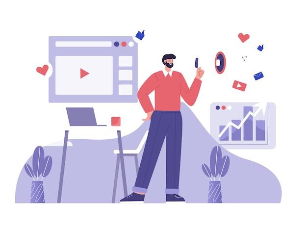 Płaska ilustracja kampanii marketingu cyfrowego