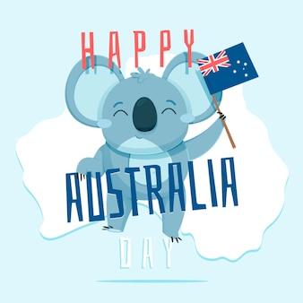 Płaska ilustracja koala dzień australii