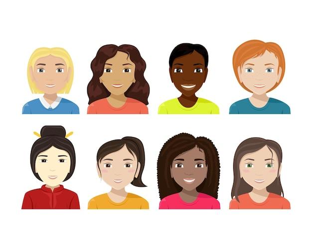 Płaska ilustracja kobiet różnych narodowości różnorodność
