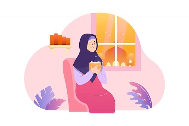 Płaska ilustracja kobiety czyta świętego księgi wektor