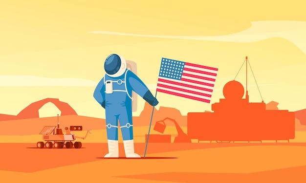 Płaska ilustracja kolonizacji marsa