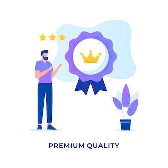 Płaska ilustracja koncepcja jakości premium dla stron internetowych