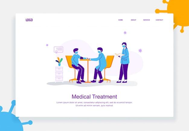 Płaska ilustracja koncepcja lekarzy i pielęgniarek sprawdzających ciśnienie krwi pacjentów narażonych na wirusa, covid 19 za szablon strony docelowej