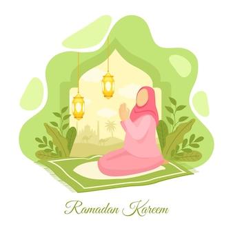Płaska ilustracja koncepcja ramadanu