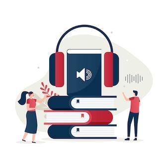 Płaska ilustracja koncepcji książki audio