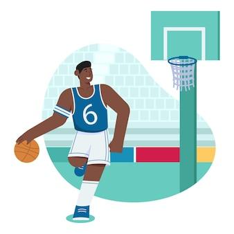 Płaska ilustracja koszykówki