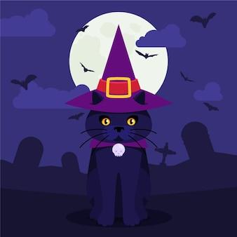 Płaska ilustracja kota halloween