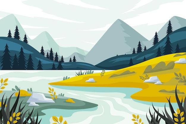 Płaska ilustracja krajobrazu