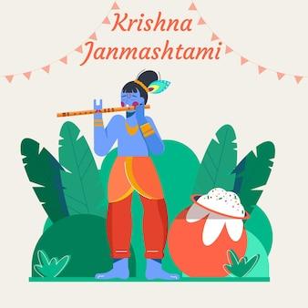 Płaska ilustracja krishna janmashtami