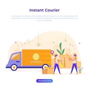 Płaska ilustracja kuriera do sklepu internetowego lub e-commerce
