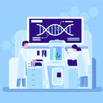 Płaska ilustracja laboratorium biotechnologii