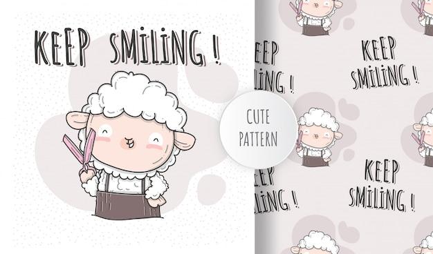 Płaska ilustracja ładny styl fryzjerski owiec