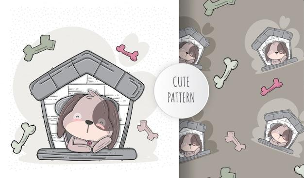 Płaska ilustracja ładny szczeniak w domu